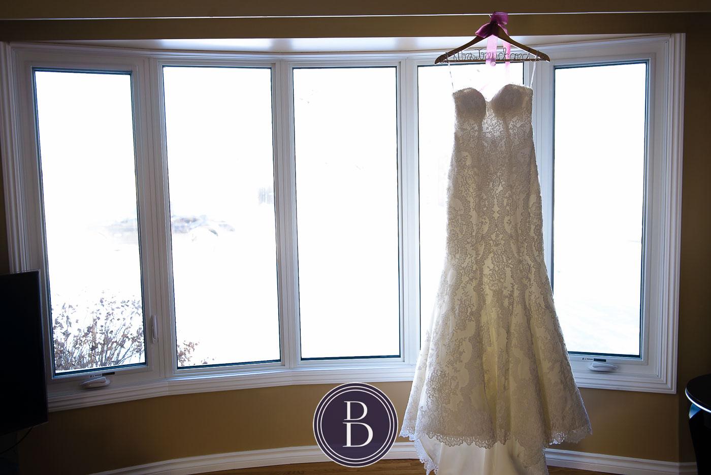 getting ready wedding dress Winnipeg winter wedding