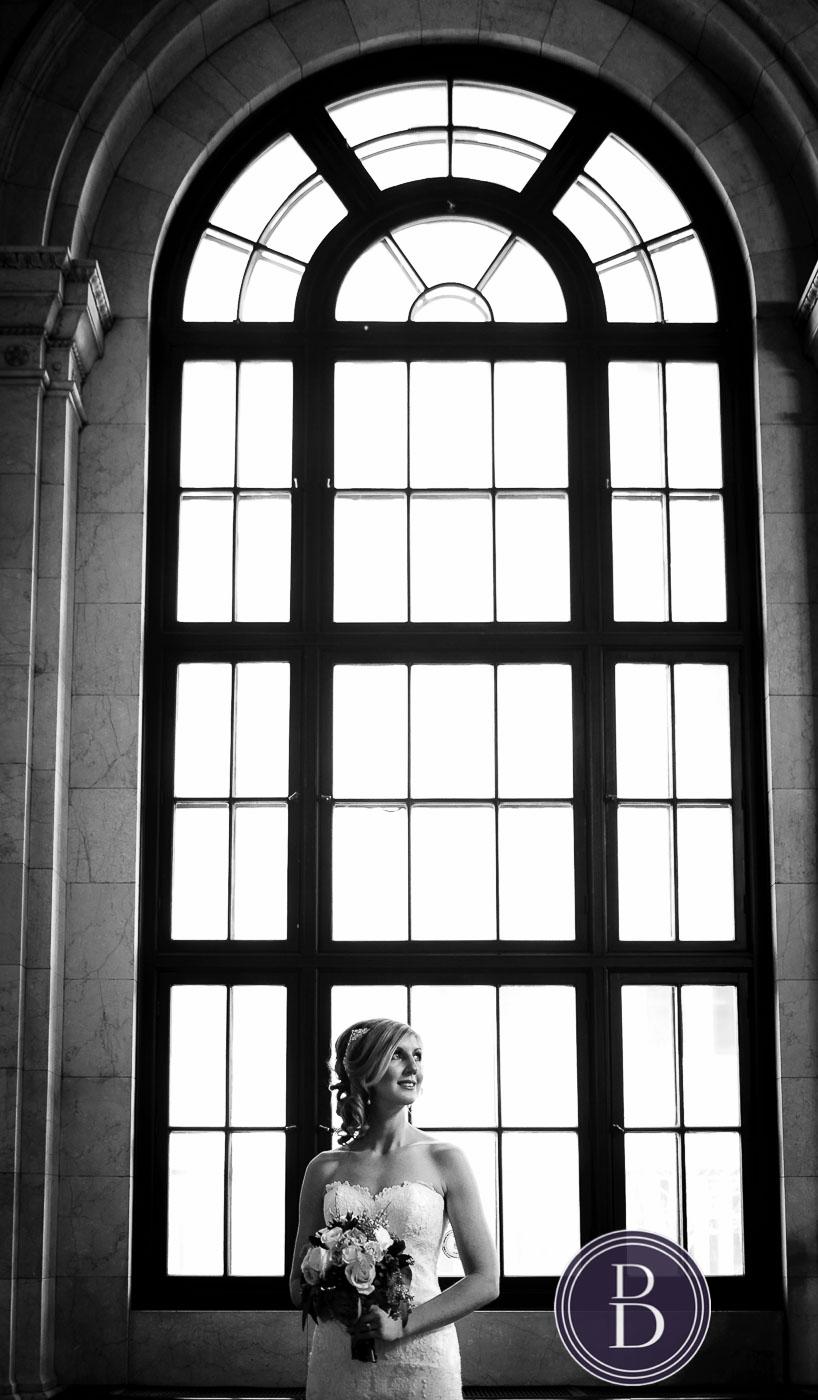Lovely bride portrait window