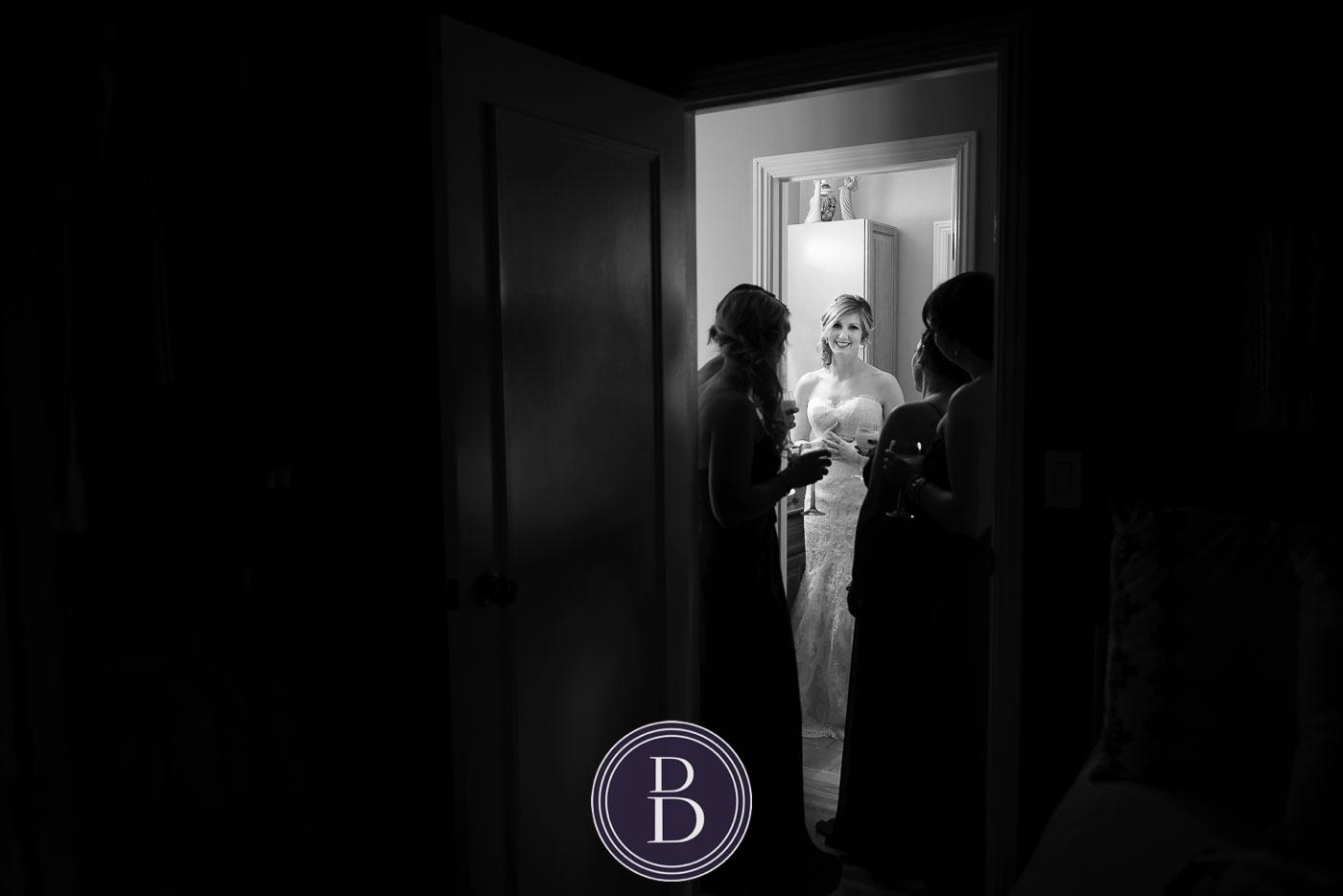 Bride with girls getting ready winter wedding