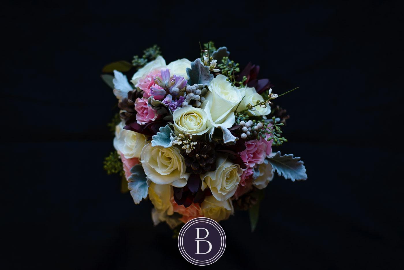 Wedding in winter wedding Winnipeg brides bouquet