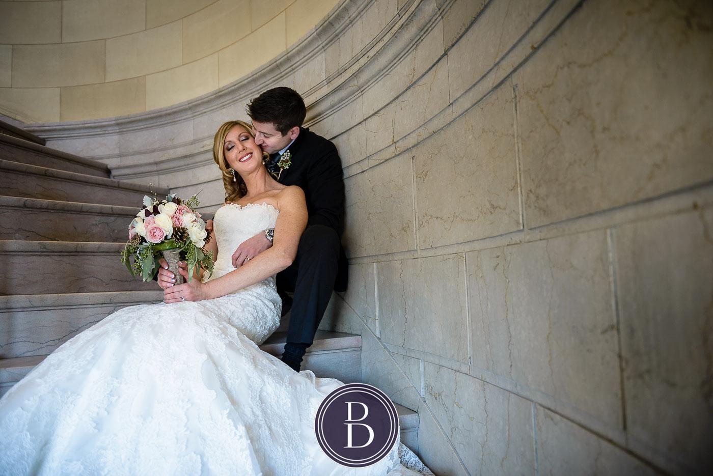 Romantic kiss bride groom Hamilton building stairs