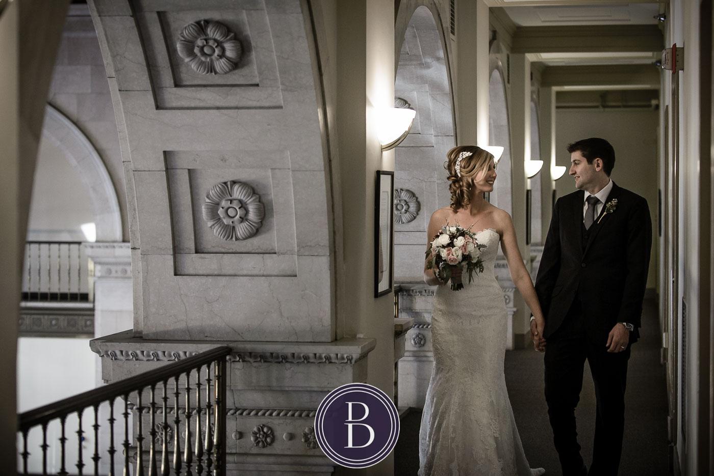 Portrait in the moment bride groom Hamilton building