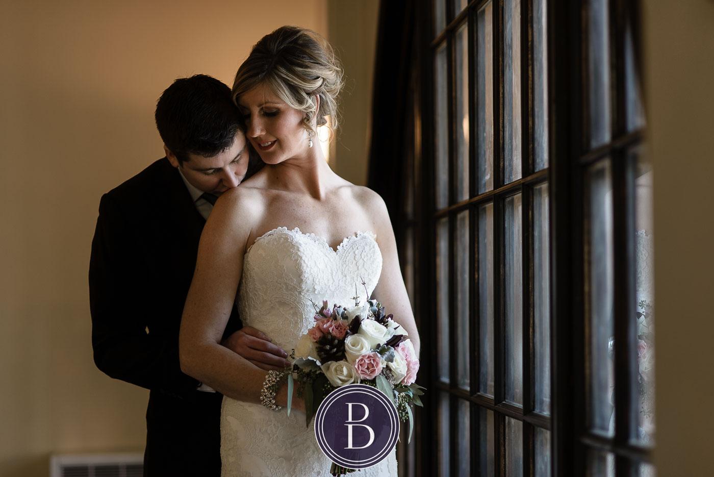 Romantic portrait in the moment bride groom Hamilton building
