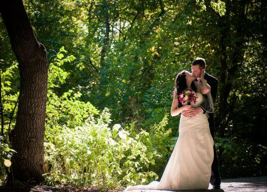 bride groom kiss park photo