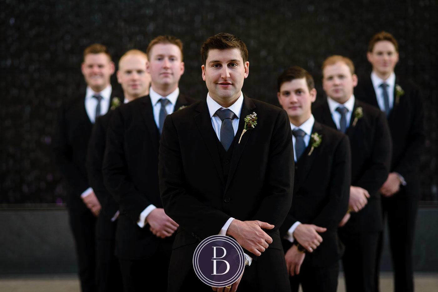Winnipeg winter wedding groom with boys portrait