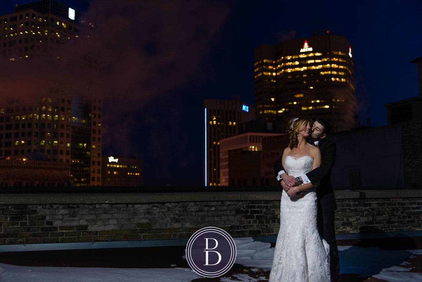 winnipeg winter wedding rooftop Marlborough Hotel bride and groom