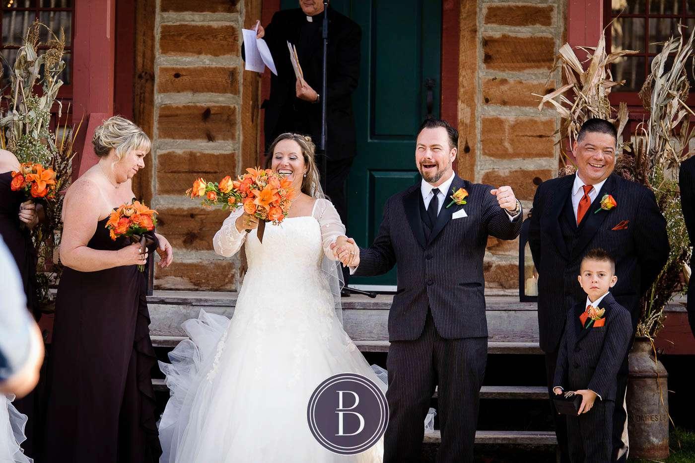 Fort Gibraltar wedding ceremony bride and groom smiles
