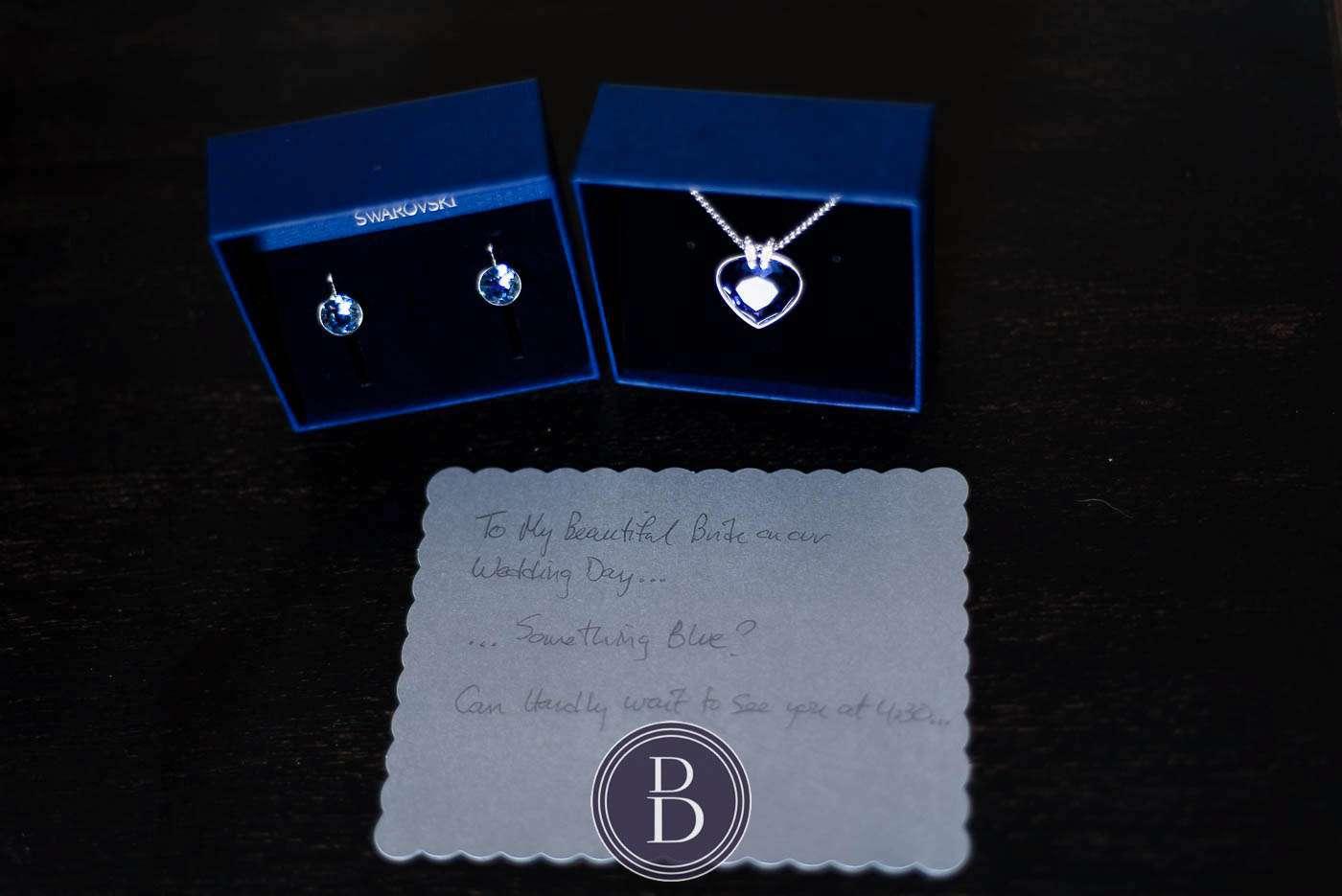 on wedding day blue jewellery gift