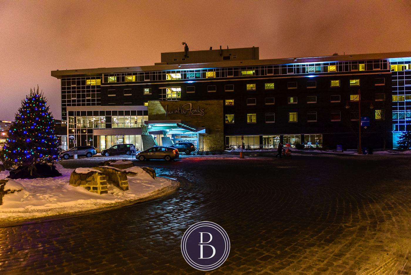 Inn at the Forks Hotel at night