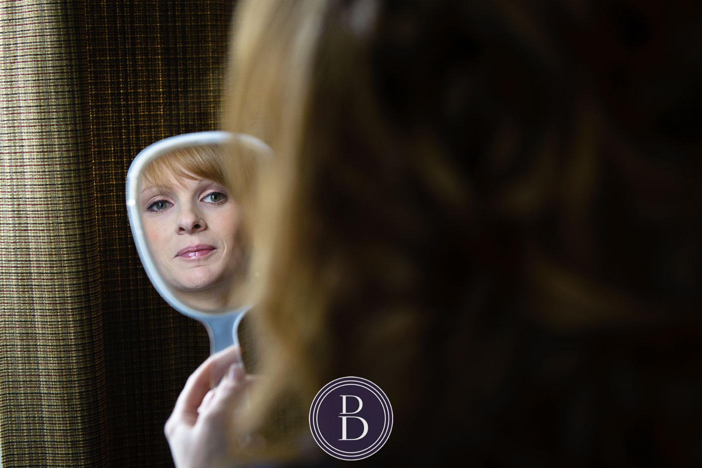 Bride getting ready mirror