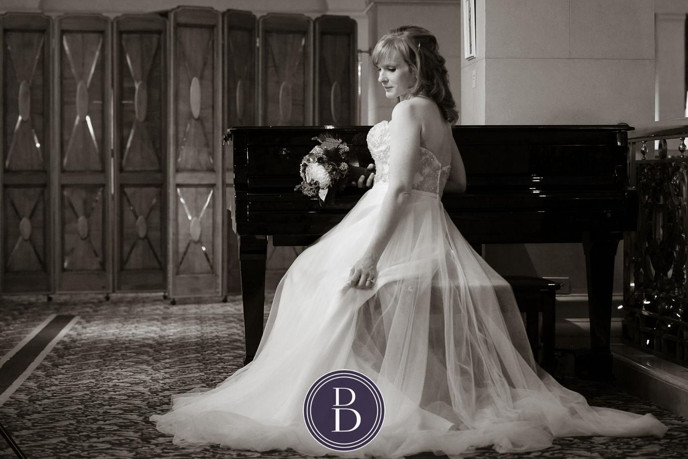Bridal portrait at the piano