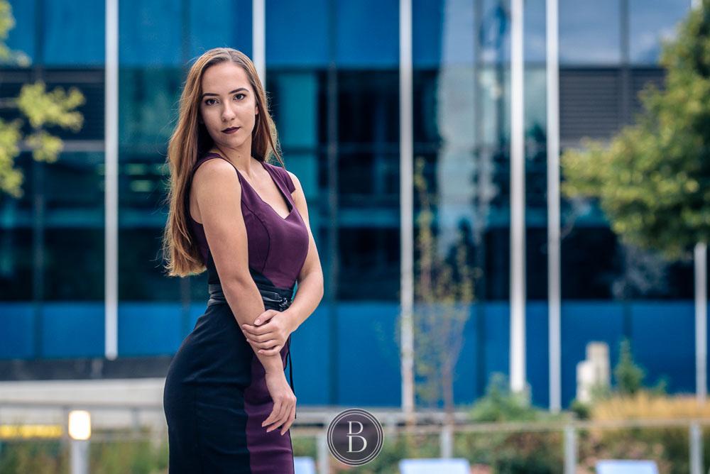 Fashion portrait of a model in downtown Winnipeg