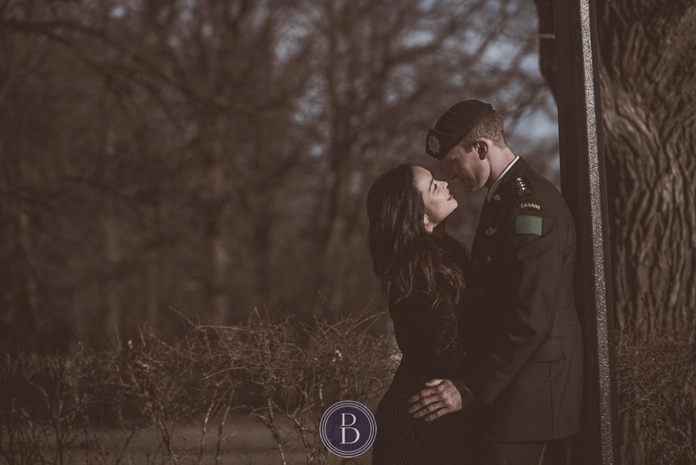 Engaged girl and her fiancee sunset Assiniboine Park Winnipeg
