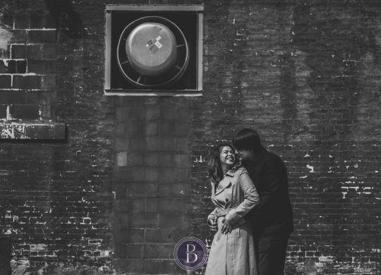 exchange district engagement session couple in love romantic portrait urban Winnipeg