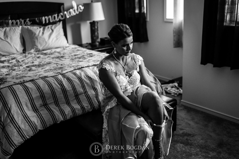 Wedding day bride getting ready
