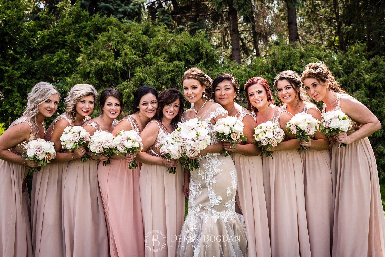 wedding party bridesmaids and bride