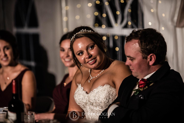 Bride all smiles at reception