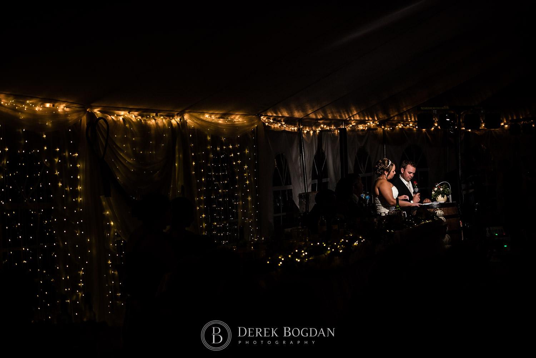 Speeches bride and groom evening wedding