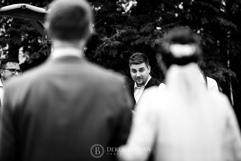 groom seeing bride outdoor Manitoba wedding