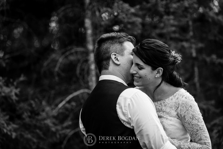 bride and groom close up portrait outdoor ceremony Manitoba wedding