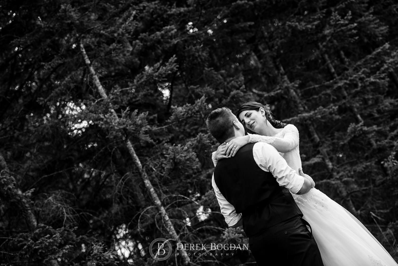 bride and groom portrait outdoor ceremony Manitoba wedding