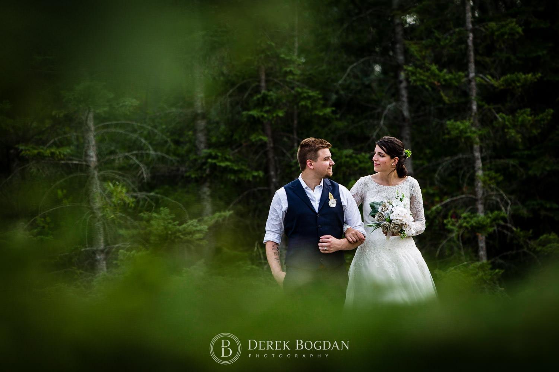 bride and groom unique portrait outdoor ceremony Manitoba wedding
