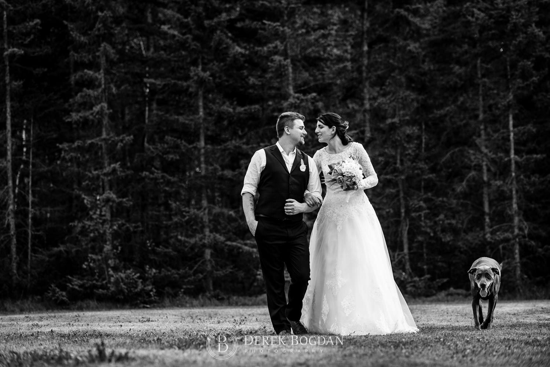 bride and groom black white portrait outdoor ceremony Manitoba wedding