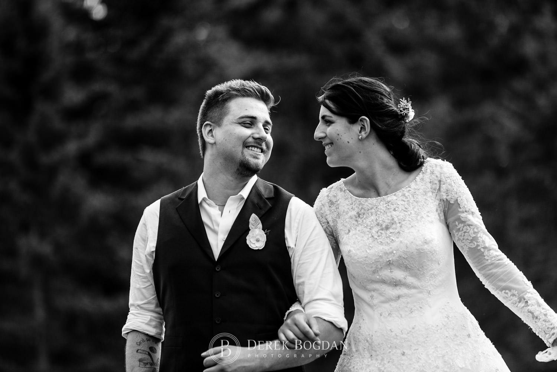 smiles bride and groom portrait outdoor ceremony Manitoba wedding