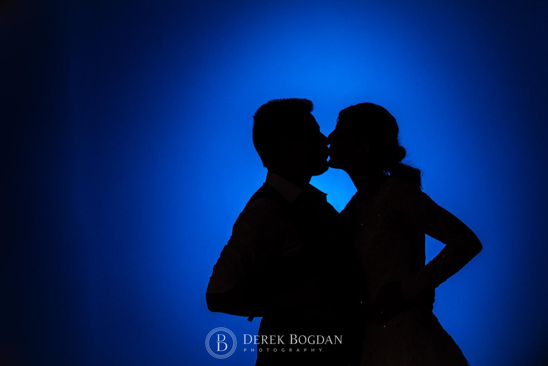 blue silhouette Manitoba wedding reception