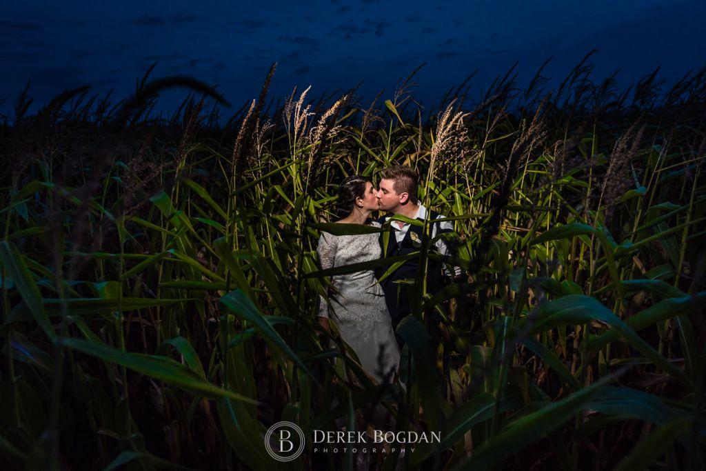 outdoor bride and groom portrait corn Manitoba wedding