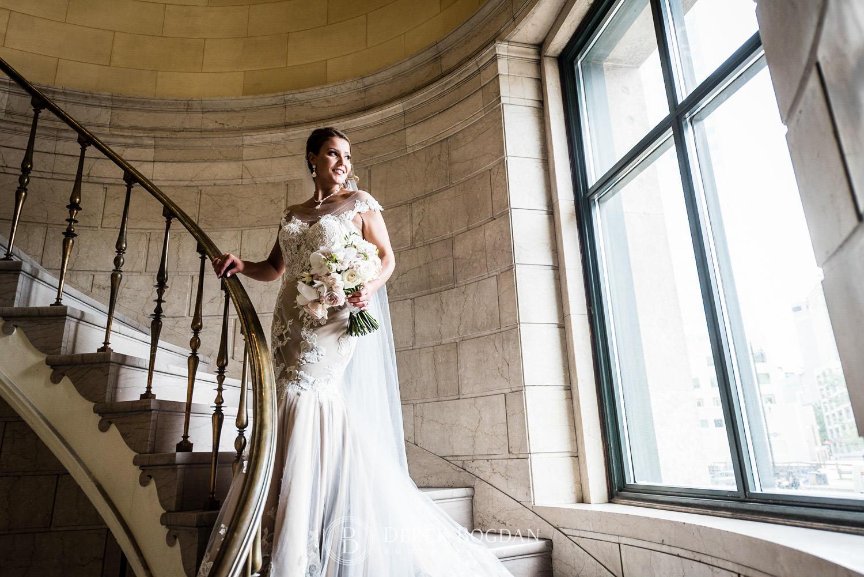Beautiful Winnipeg bridal portrait on staircase, top photographer