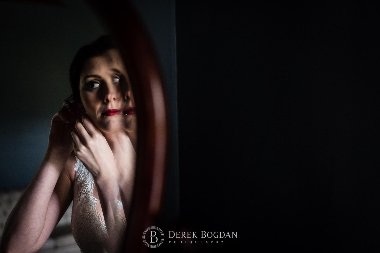 bride mirror getting ready Evergreen Village Wedding Niverville Manitoba