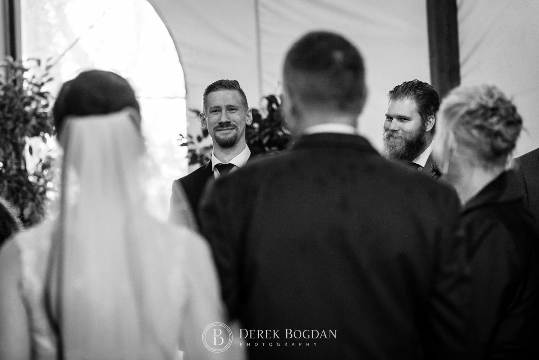 groom sees bride first time Evergreen Village Wedding Niverville Manitoba