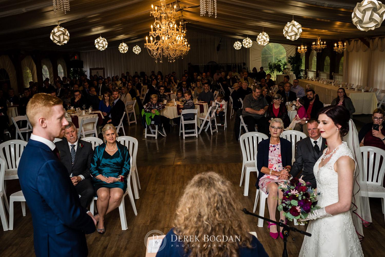 indoor ceremony Evergreen Village Wedding Niverville Manitoba