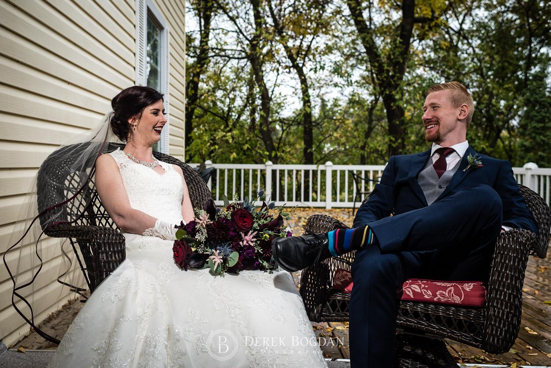bride groom outdoor porch portrait Evergreen Village Wedding Niverville Manitoba