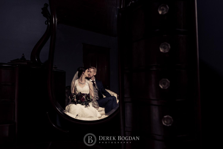 bride groom portrait mirror reflection Evergreen Village Wedding Niverville Manitoba