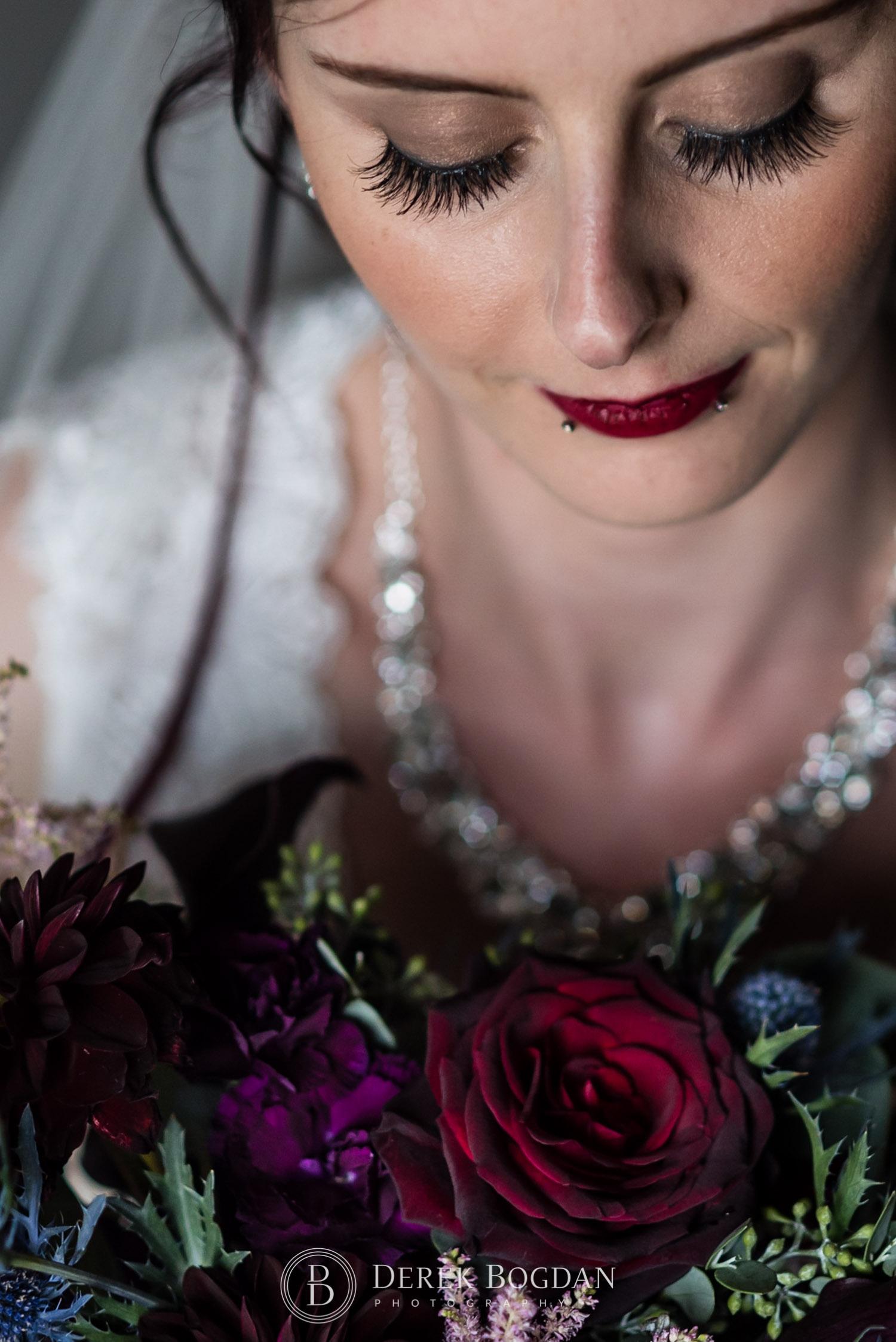 Bridal and flowers portrait Evergreen Village Wedding Niverville Manitoba