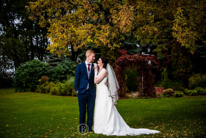bride groom portrait outdoor fall Evergreen Village Wedding Niverville Manitoba