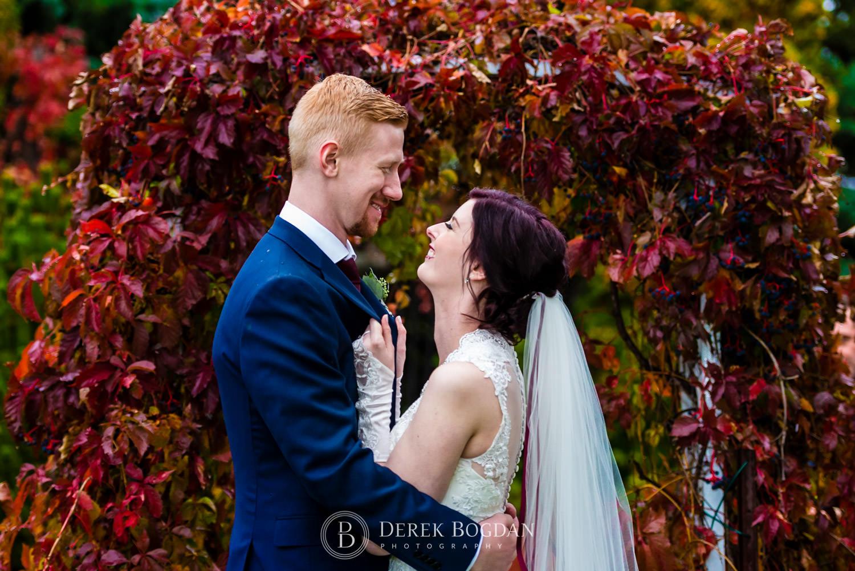 bride groom outdoor fall portrait Evergreen Village Wedding Niverville Manitoba