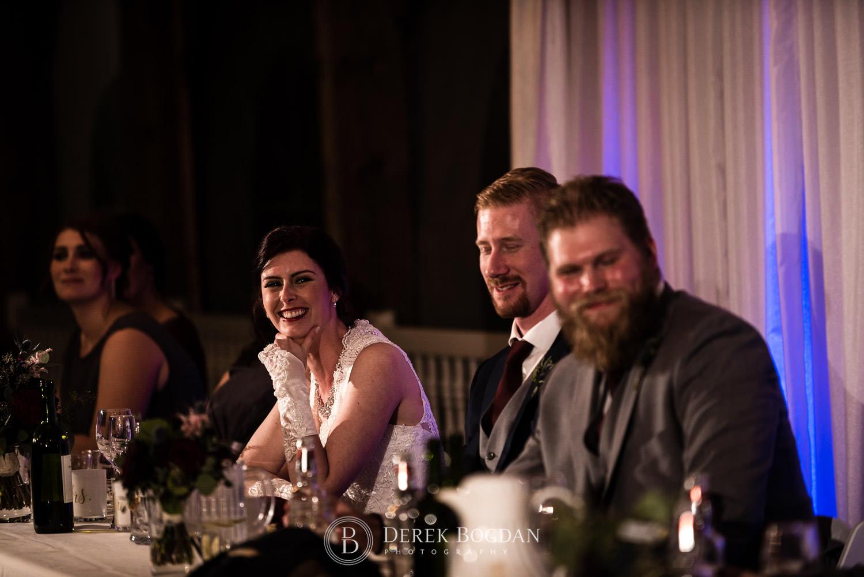 bride smiling speeches Evergreen Village Wedding Niverville Manitoba