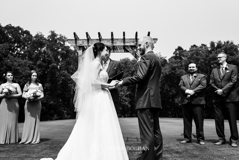 Bel Acres Golf wedding Manitoba ceremony exchange of rings