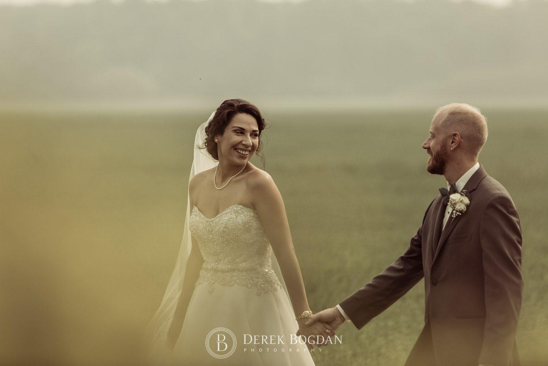 Bride Groom walking smiles and love Bel Acres Golf Wedding