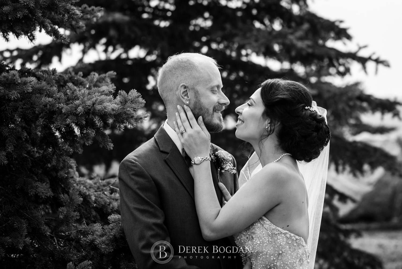 Bride and groom portrait outside Bel Acres Golf Wedding