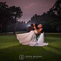 Bel Acres Golf Wedding bride and groom evening portrait golf course kiss