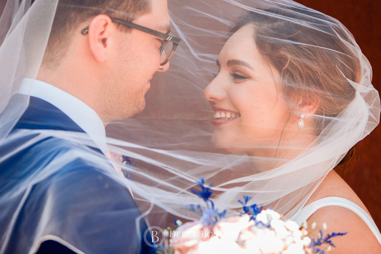 Bride and groom portrait veil Qualico Family Centre