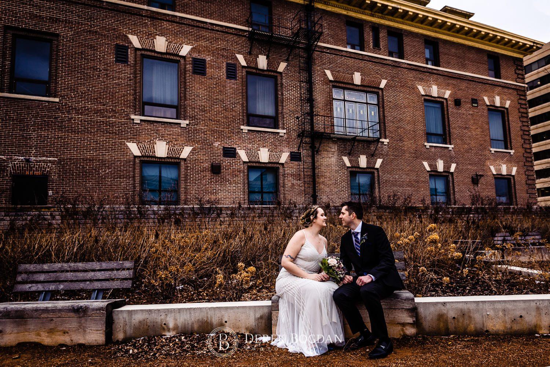 Manitoba Club Wedding post ceremony outdoor portrait on bench