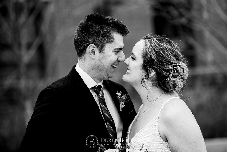 Manitoba Club Wedding post ceremony outdoor portrait bride groom smiles